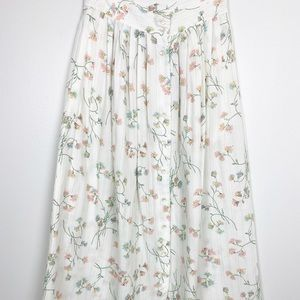 Vintage Claude Skirt White Floral Button Up Maxi